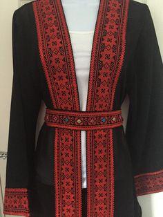 Black chiffon jacket / top/ shrug / Kimono by PalestinianStitches