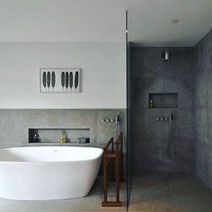 Peaceful colour for bathroom. Simple is beautiful. Someone knows where the shower comes from ? Brand? #bathroom #badrum Pinterest