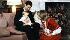 December 22, 1982: Prince Charles, Princess Diana with Prince William during a photo session at Kensington Palace in London.