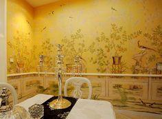 爱 Chinoiserie? Mais Qui! 爱 home decor in Chinese Chippendale style - deep yellow chinoiserie wallpaper
