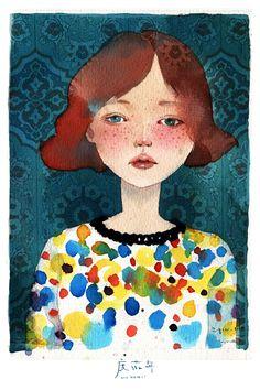 mariyuki:  我画雀斑的方式与你不同。 by 度薇年  via illustratosphere - love the top she is wearing