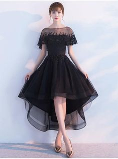 Princess Prom Dresses whit Jacket 2017 New Elegant Black High Low