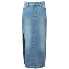 Mile Long Denim Side Slit Skirt (15.260 CLP) ❤ liked on Polyvore featuring skirts, stylemoi, blue, long blue maxi skirt, blue skirt, denim maxi skirt, maxi skirt and long blue skirt