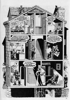 The Spirit - Will Eisner - 1947 - Full Page Cutaway - Comic Book Cartography Comic Book Pages, Comic Book Artists, Comic Artist, Comic Books Art, Illustrations, Illustration Art, Web Comic, Will Eisner, Alternative Comics