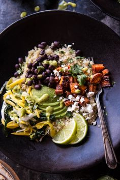 Quinoa + Veggies 1 cup uncooked quinoa zest + juice of 1 lime 2 sweet potatoes chopped 2 tablespoons olive oil 2 teaspoons Old El Paso Taco Seasoning 1 ounce can black beans rinsed + drained, 14 salt + pepper 1/3 cup fresh cilantro chopped sliced avocado + queso fresco for serving (omit if vegan) warmed Old El Paso flour tortillas for serving Mango Slaw 1 ripe mango sliced into thin strips 1 bunch Tuscan kale shredded 1 jalapeno seeded + chopped 1/4 cup olive oil juice of 1 lime 1/2 cup…