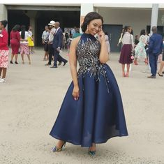 Cop her style African Prom Dresses, African Wedding Dress, African Fashion Dresses, African Dress, South African Traditional Dresses, Traditional Wedding Dresses, Elegant Midi Dresses, Petite Dresses, Seshoeshoe Designs