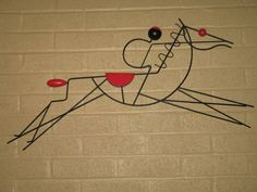 "Frederick Weinberg Rare Horse & Jockey figural wall hanging, iron, 32"" long. 1950s Rare Horses, Mid Century Wall Art, Mid-century Modern, 1950s, Iron, Graphics, Metal, Furniture, Vintage"
