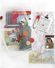 Assemble a kids' travel activity kit with printable car bingo, a map of the route, 50 states license plate game & more.
