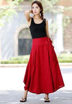 Red wrap skirt women linen skirt long skirt high waisted long skirt -custom made (1025)