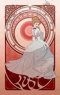 Pin for Later: Disney Princesses Like You've Never Seen Them Seven Deadly Sins Cinderella Artist Chris Hill's Disney princesses as the seven deadly sins have an art nouveau style. Illustration by Chris Hill Disney Fan Art, Disney Princess Art, Disney Love, Disney Magic, Sailor Princess, Dark Disney, Princess Bubblegum, Disney Disney, Art Nouveau Disney