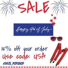 Happy 4th of July weekend... And our sale starts  today in honor of the 4th of July weekend we are offering 15% your whole order today and tomorrow so order up and enjoy! Use code: USA now on our website at www.fjspopshop.com