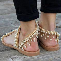 7e7c16450b9a Bohemian Style Sandals Casual Beach Pearls Shoes