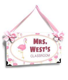 personalized teacher name door sign. pink flamingo theme name plaque - Graduation Gift Teacher Door Signs, Teacher Doors, Teacher Name, Flamingo Decor, Pink Flamingos, Welcome Students, Best Teacher Gifts, Class Decoration, Name Plaques