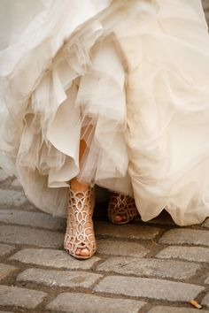 These crystal wedding shoes are everything.