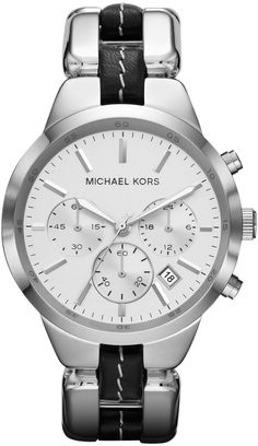 c3afd3ecaeb5 Michael Kors Mid-Size Black Leather and Silver Color Stainless Steel  Showstopper Chronograph Watch for