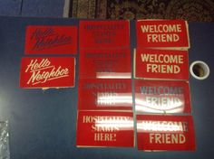 Vintage Beer Sign Inserts Parts Hospitality Welcome Friend Hello Neighbor LOT  | eBay
