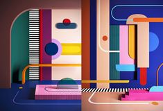 Beautiful, colourful and fun interior design project by Daria Zinovatnaya in Russia. This is a study on colour combinations with textures and shapes, creating interior scenarios that are very well elaborate and composed. Theme Design, Stage Design, Interior Inspiration, Design Inspiration, Memphis Design, 3d Max, Colorful Interiors, Vintage Interiors, Geometric Art