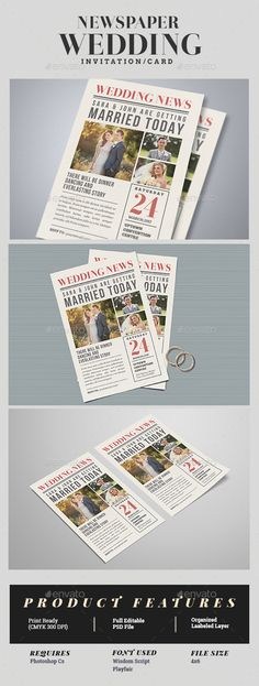 Newspaper Wedding Invitation Template PSD. Download here: https://graphicriver.net/item/newspaper-wedding-invitation/17351831?ref=ksioks