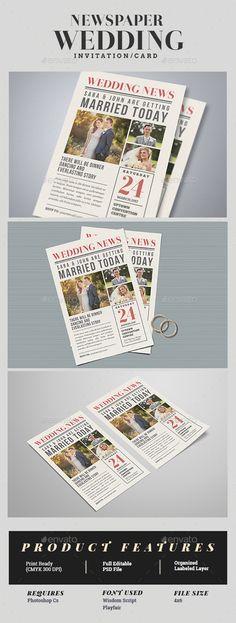 Newspaper Wedding Invitation Template PSD. Download here: https://graphicriver.net/item/newspaper-wedding-invitation/17351831?ref=ksioks