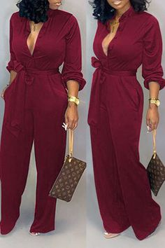 Lovely Work Lace-up Loose Wine Red One-piece Jumpsuit We Offer Top Good Quality Cheap Clothes For Women And Men Clothing Wholesaler, Get Affordable Clothing At Worldwide. Green Fashion, White Fashion, Look Fashion, Chic Womens Fashion, Gothic Fashion, Jumpsuit Dressy, Red Jumpsuit, Ethno Style, Red One Piece