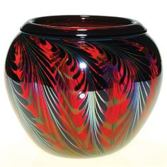 Charles Lotton Black Feather Art Glass Vase