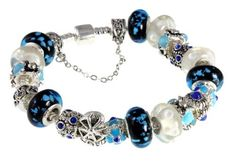 Windmill Charm Bracelet with Blue, White, Silver, Unique Murano Glass Beads and Swarovski Charms; High Quality Pandora Style Bracelet Opens so Beads CAN Be Changed (7.8 Inches) Beautiful Silver Jewelry. $85.95. 19 Beads and Charms Including Gorgeous Murano Blue Flake Handblown Glass Beads. Pandora and European Bracelet Compatible. Murano White Bubble Beads, Blue Cat's Eye Charms, Blue Flower Enamel Charms. Create Your Own Memory and Story Bracelet By Adding Beads And Ch...