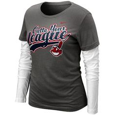 Nike Cleveland Indians Ladies League Double Layer Long Sleeve T-Shirt - Charcoal/White