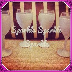 Set of 4 silver glitter glasses www.facebook.com/sparktacularcreations xx