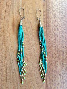 Long Seed Bead Earrings, Native American Style, Fringe Earrings, Boho Style, Hippie Style, Free People, Shoulder Dusters, Tribal Earrings