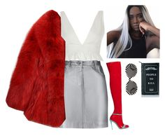 """""""scene girl"""" by hotspiceee ❤ liked on Polyvore featuring Pierre Balmain, Gucci, River Island, GUILTY BROTHERHOOD, Killstar and Yves Saint Laurent"""