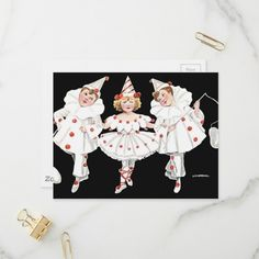 Shop Kids Party Costume Clown Pierrot Boy Girl Invitation Postcard created by Victorian_FrouFrou. Adult Costume Ideas Diy, Diy Costumes, Adult Costumes, Girl Clown Costume, Clowns, Postcard Size, Cute Kids, Holiday Cards, Paper Texture