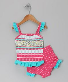 Take a look at this Ruby Country Flower Stripe Ruffle Tankini - Girls by Frankie & Daisy on #zulily today!