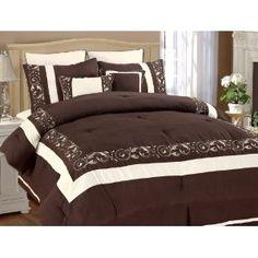 8Pcs Queen Shilo Chocolate/White Embroidered Comforter
