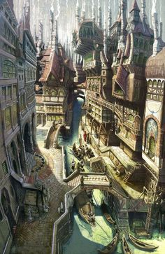 Fantasy town Fantasy art landscapes Fantasy city Fantasy concept art