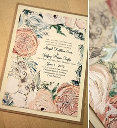Peach and Blue Peony, Dusty Miller and Seeded Eucalyptus Full Floral Bouquet Wedding Invitation : Momental Designs