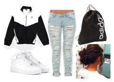 addidas outfit by lidachka on Polyvore featuring BLANKNYC, NIKE and adidas
