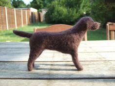 Needle Felted Dog - Chocolate Labrador READY TO SHIP on Etsy, £35.00