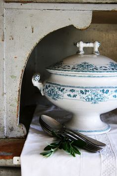 beautiful blue & white soup tureen