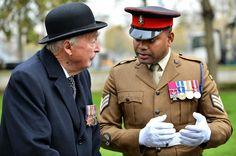 Robert de Pass, nephew of Robert de Pass VC in conversation with Sgt Johnson Beharry VC at the ceremony to honour Frank de Pass VC