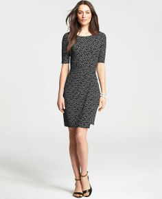 Ann Taylor Mini Dot Print Twist Wrap Jersey Dress