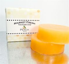 Scent: Peach   Size: 4oz round soap bar, handcrafted.   Ingredients: coconut oil, palm oil, castor oil, safflower oil, glycerin, purified water, sodium hydroxide, sorbitol, sorbitan oleate, soybean protein, fragrance, colorant.   Fresh  fun soap! Like a farmers market, each round bar is scented with a freshly picked fruity fragrance. Each bar is individually poured and colors may vary between batches. All soaps are weighed after making and then cured to harden. Cure removes excess water…