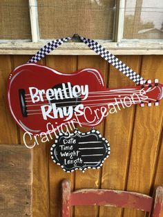 Your place to buy and sell all things handmade Guitar Baby Door Hanger by craftigirlcreations on Etsy Hospital Door Decorations, Hospital Door Hangers, Baby Door Hangers, Door Hanger Printing, Initial Door Hanger, Baby Boy Birth Announcement, Baby Painting, Painted Doors, Baby Decor