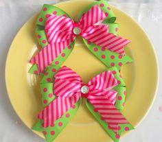 Polka Dot Pink and Lime Hair Bows
