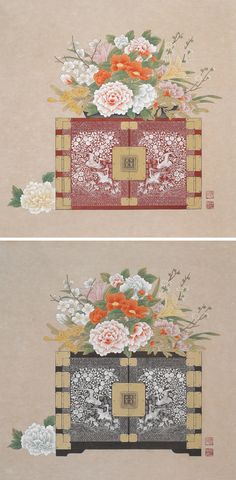 Mother-of-Pearl Flower- 기타작품 – 5018 자개 화훼도 Mother-of-Pearl Flower - Korean Art, Asian Art, Traditional Paintings, Traditional Art, Korean Painting, Chinese Flowers, Geisha Art, Motif Design, Botanical Flowers