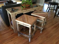 Stools / end tables built with reclaimed wood