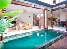 A villa in Spain…with an infinity p… Wonderful 3 Bedroom Villa – Bali – Airbnb. A villa in Spain…with an infinity pool and an amazing ocean view. Backyard Pool Designs, Small Backyard Pools, Small Pools, Swimming Pool Designs, Outdoor Pool, Villa Design, House Design, Small Pool Design, Pool Houses