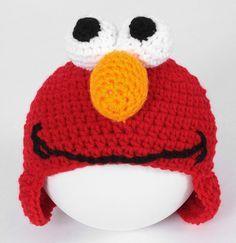 Free Elmo ear flap hat crochet pattern