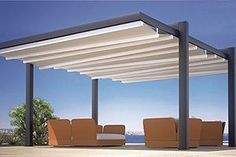 Forli Freestanding Patio Cover System Cantilever From Posts 4u0027 Motorized Or  Manual Powdercoated Retractable Awning