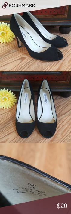 "Steve Madden Peep Toe Heels Steve Madden black suede (leather upper) peep toe heels. Heel height is 3 1/2"". Shows wear as seen in photos, but still look good on. Steve Madden Shoes Heels"