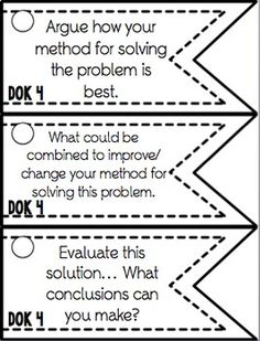 This link includes over 100 math DOK leveled questions. Each task card can be edited and adjusted to meet the content. The sentence stems would be easily applied for any content. Math Teacher, Math Classroom, Teaching Math, Teaching Ideas, Classroom Ideas, Fourth Grade Math, Second Grade Math, Depth Of Knowledge, Math Stem